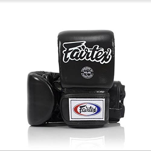 Fairtex Muay Thai Bag gloves TGO3 - Super Sparring Bag Gloves - Open Thumb - Black, Medium