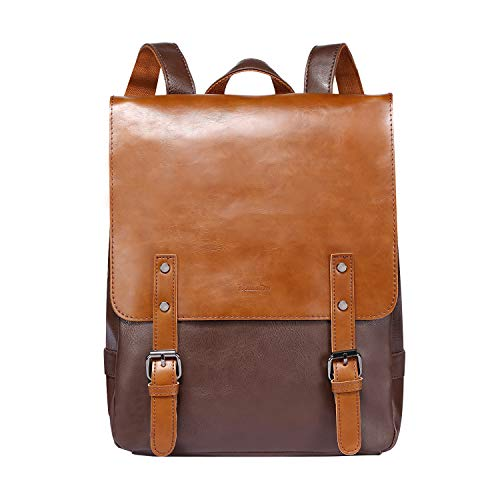 Zebella Womens Leather Backpack Vintage Laptop Brown Backpack Faux Leather Travel Daypack College...