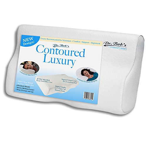 Dr. Bob's Contoured Luxury - Neck and Cervical Pillow Memory Foam Contours for Back-Sleeping and...