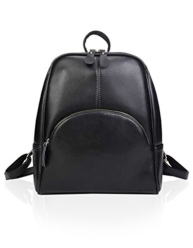 Womens Vintage Style Top Layer Cow Leather Backpack Shoulder Bag Black