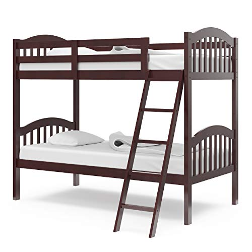 Storkcraft Long Horn Solid Hardwood Twin Bunk Bed, Espresso Twin Bunk Beds for Kids with Ladder and...
