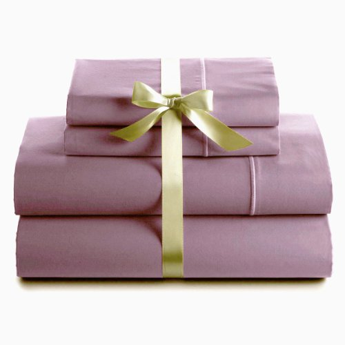 500 Thread Count 100% Egyptian Cotton Luxury Deep Pocket Sheet Set (Queen, Purple)