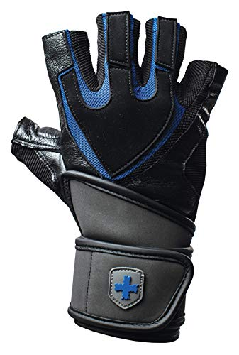 Harbinger Training Grip Wristwrap Weightlifting Gloves with TechGel-Padded Leather Palm (Pair)