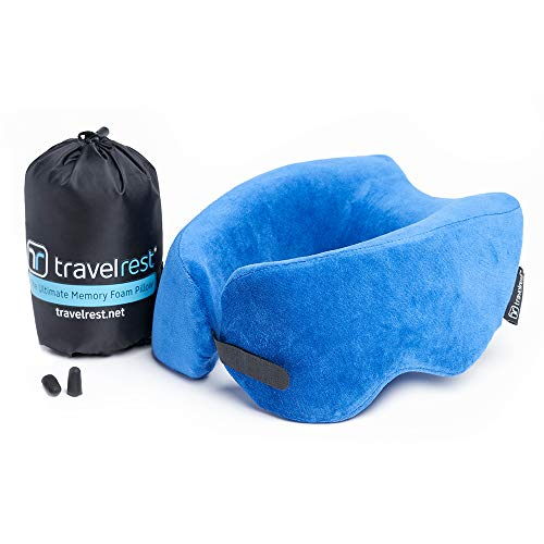 Travelrest Patented Ultimate Memory Foam Travel Pillow/Neck Pillow - Washable Cover - Voted Best...