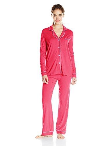 Cosabella Women's Bella Long Sleeve Top and Pant Set, Garnet/Issus, Medium
