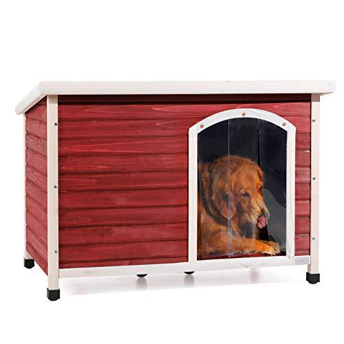 Petsfit Weatherproof Wooden Outdoor Dog House, Large, 1-Year Warranty