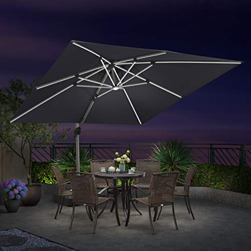 PURPLE LEAF 10 Feet Double Top Deluxe Solar Powered LED Square Patio Umbrella Offset Hanging...