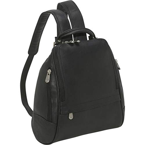 Le Donne U Zip Mid Size Woman's Backpack, Black