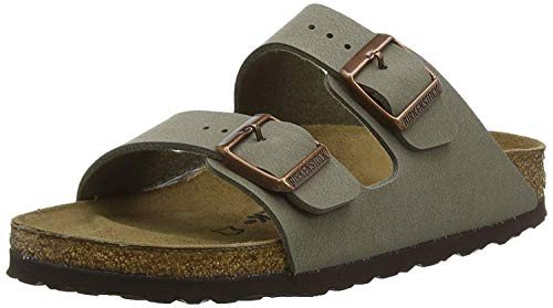 Birkenstock Arizona Unisex Leather Sandal, Stone, 44 M EU