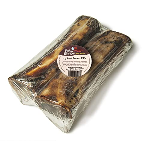 Pet 'n Shape Beef Bone Treat - Made & Sourced in The USA - Natural Dog Chewz, Large, 2 Count