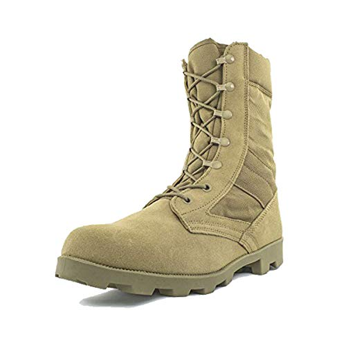 Bufferzone Men's 9' Tan Military Tactical Boot with Zipper, 13M