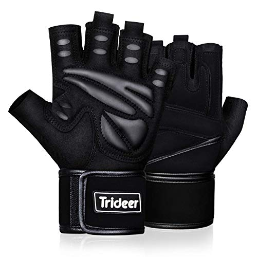 Trideer Padded Weight Lifting Gym Workout Gloves with Wrist Support, Exercise Lifting Gloves, Full...