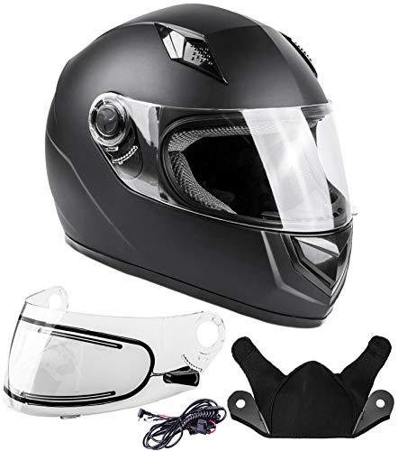 Typhoon Helmets Adult Full Face Snowmobile Helmet With Heated Shield DOT (Matte Black, Medium)