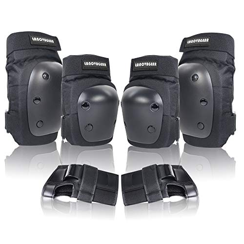 LANOVAGEAR Knee Elbow Pads with Wrist Guard Adjustable Toddler to Adult 6PCS Protective Gear Set for...