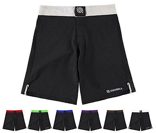 Sanabul Essential MMA BJJ Cross Fit Workout Shorts (34 inch W, Silver)