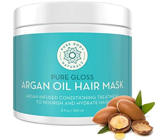 Pure Body Naturals Argan Oil Hair Mask, 8 Fluid Ounces - Argan Oil Hair Mask for Damaged Hair, Deep...