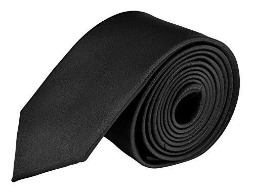 MDR Mens Ties Solid Satin Tie Skinny Slim Necktie - Black 2.0 Inch