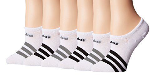 Adidas Women's Superlite No Show Socks (Pack of 6) (Women's Sock size (5-10), White/Black/5143932A)