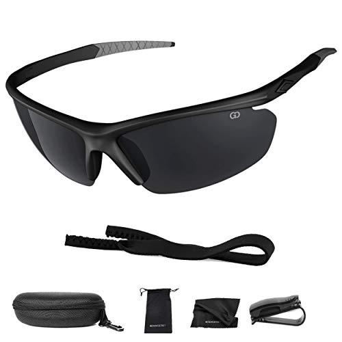 Polarized UV400 Sport Sunglasses Anti-Fog Ideal for Driving or Sports Activity (Black, Grey)