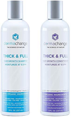 Organic Vegan Hair Growth Shampoo and Conditioner Set - Natural Hair Regrowth with Vitamins - Hair...