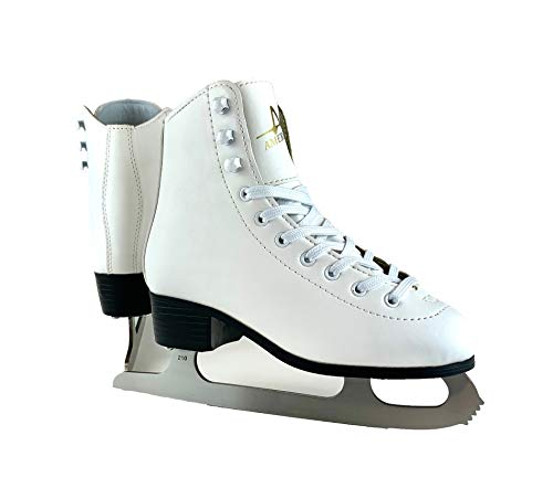 American Athletic Shoe Girl's Tricot Lined Ice Skates, White, 2 (51202)