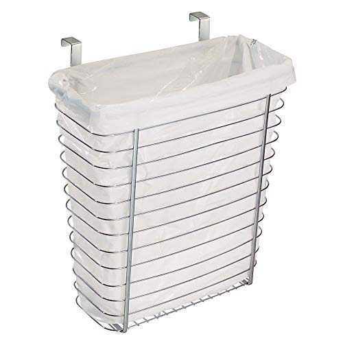 iDesign Axis Steel Over the Cabinet Storage Basket Organizer, Waste Basket, for Aluminum Foil,...