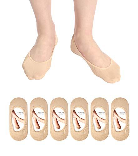 Women's No Show Liner Socks 6 Pairs Thin Low Cut Casual Socks Non Slip (beige socks(6 pairs))