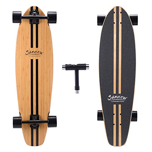 SANVIEW 34inch Complete Bamboo Longboard Skateboards Cruiser Classic