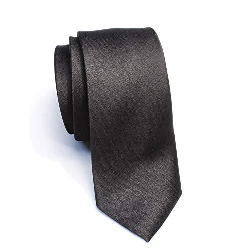 New Skinny Solid Black 2 Inch Necktie Tie'