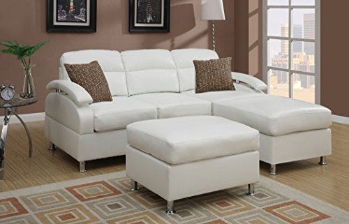 Poundex Bobkona 3-Piece Bonded Leather Sectional Sofa, Cream
