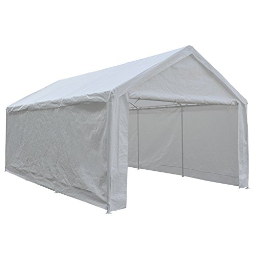 Abba Patio 12 x 20-Feet Heavy Duty Carport, Car Canopy Shelter with Removable Side Panels, Doors and...