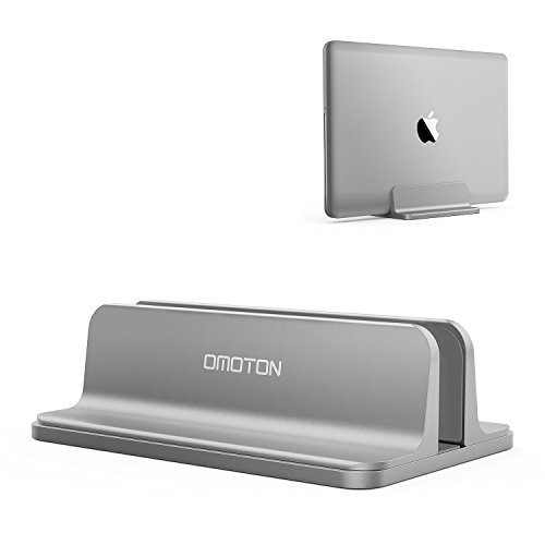 Vertical Laptop Stand [Adjustable Size], OMOTON Desktop Aluminum MacBook Stand with Adjustable Dock...