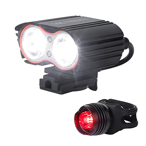 victagen Bike Light, Bicycle Light USB Rechargeable Bike Headlight and Back Light Set,Installs in...