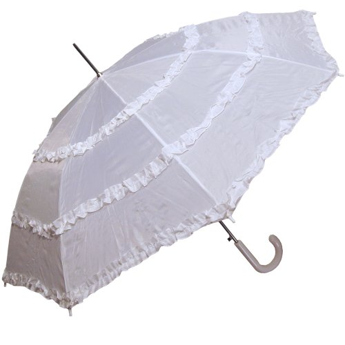 RainStoppers S014WHT Women's Open Parasol Umbrella with Three Ruffles, White, 48-Inch