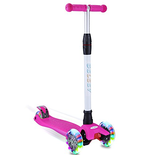 BELEEV Kick Scooter for Kids 3 Wheel Scooter, 4 Adjustable Height, Lean to Steer with PU LED Light...