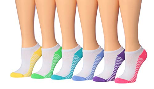 Tipi Toe Women's 6-Pack No Show Athletic Socks, Sock Size 9-11 Fits Shoe 6-9, SP06-6