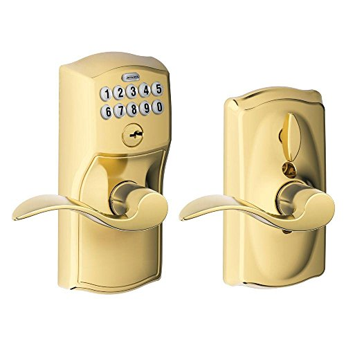 Schlage FE595VCAM505ACC Camelot Keypad Accent Lever Door Lock, Bright Brass