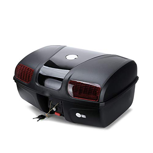 AUTOINBOX Universal Motorcycle Rear Top Box Tail Trunk Luggage Storage Case,47 Litre Hard Case with...