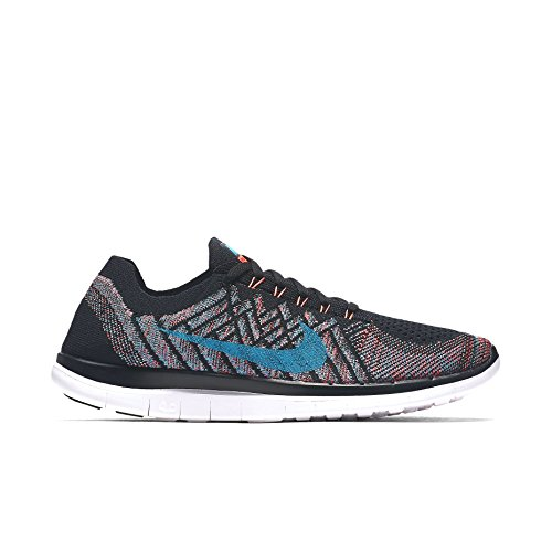 Nike Free 4.0 Flyknit Running Men's Shoes,Black/Hyper Orange-copa-blue Lagoon,11 D(M) US