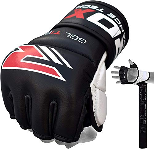 RDX MMA Gloves for Grappling Martial Arts | Genuine Cowhide Leather Mitts for Kickboxing, Sparring,...