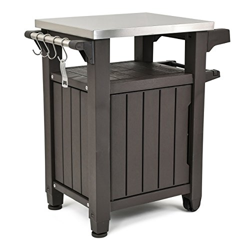 Keter Unity Portable Outdoor Table with Storage Cabinet and Stainless Steel Top, Unity, Espresso...