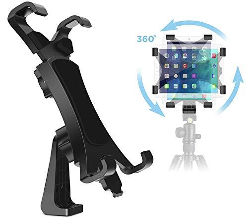 IPOW 360 Degree Rotatable Break-Resistant iPad Tripod Mount Adapter, Universal Tablet Clamp Holder...
