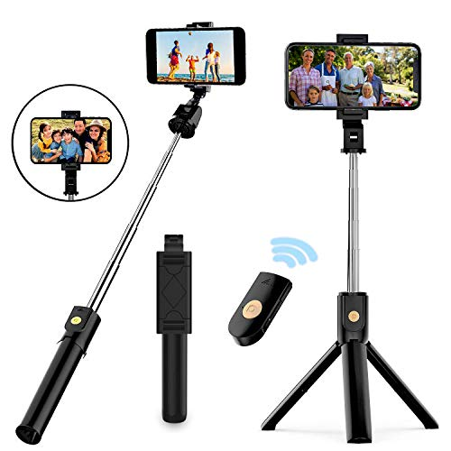 Selfie Stick Tripod, Extendable Bluetooth Selfie Stick with Wireless Remote, Compatible with iPhone...