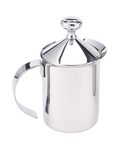 HIC Milk Creamer Frother Cappuccino Coffee Foam Pitcher with Handle and Lid, Stainless Steel,...
