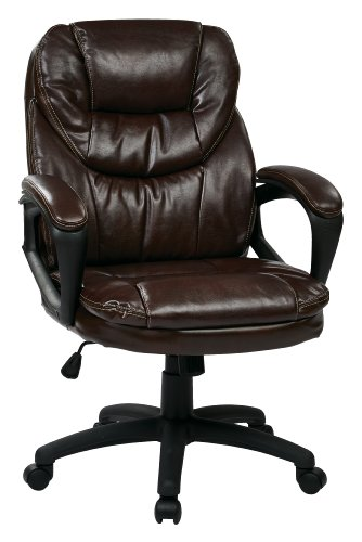 Office Star Faux Leather Manager's Chair with Padded Arms, Chocolate