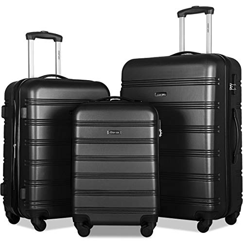 Merax Travelhouse Luggage Set 3 Piece Expandable Lightweight Spinner Suitcase (Navy Blue)