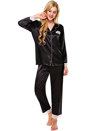 Ekouaer Womens Two Piece Pajama Sets (Black, X-Large)
