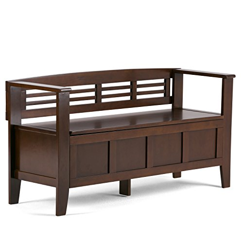 SIMPLIHOME Adams SOLID WOOD 48 inch Wide Entryway Storage Bench with Safety Hinge, Multifunctional,...
