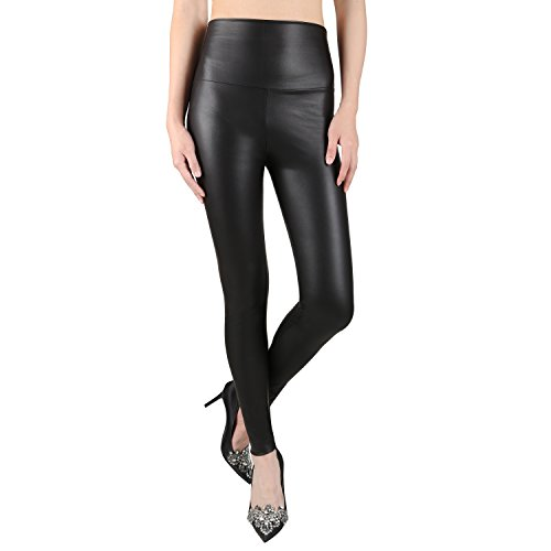 Sexy Faux Leather High Waisted Leggings (L  (US 12-14), matt black)