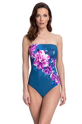 Gottex Women's Bandeau One Piece Swimsuit, Metallics Blue, 10